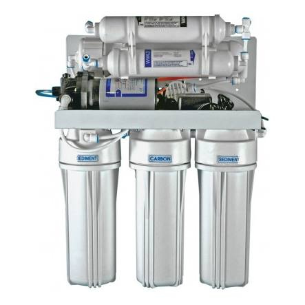 6-stufiges Umkehrosmosesystem mit 75er Membran, Remineralisierer und Druckpumpe