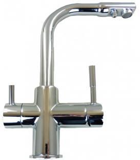 Wasserhahn satiniert – dreifache Leitung: kaltes, warmes, gefiltertes Wasser, Keramikventil